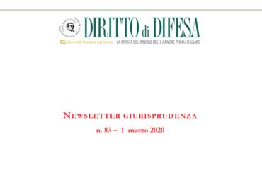 NEWSLETTER GIURISPRUDENZA N. 83 – 1 MARZO 2020