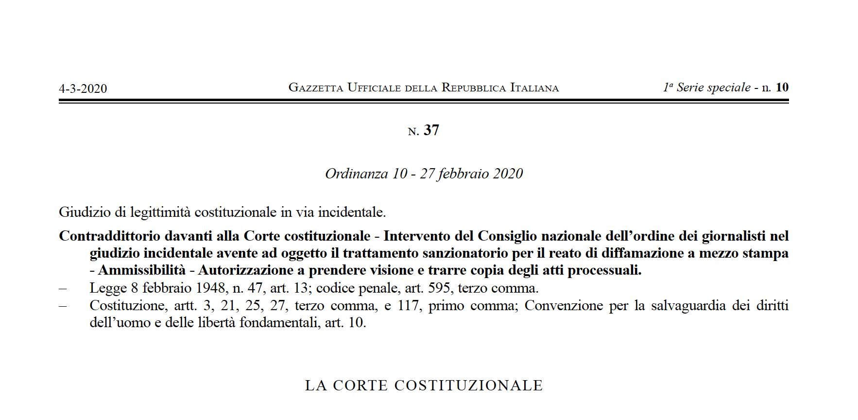 GIUDIZIO DI LEGITTIMITÀ COSTITUZIONALE IN VIA INCIDENTALE. L'INTERVENTO DEL CONSIGLIO DELL'ORDINE DEI GIORNALISTI.
