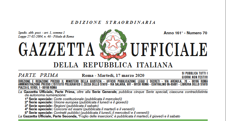 DECRETO-LEGGE 17 MARZO 2020, N. 18