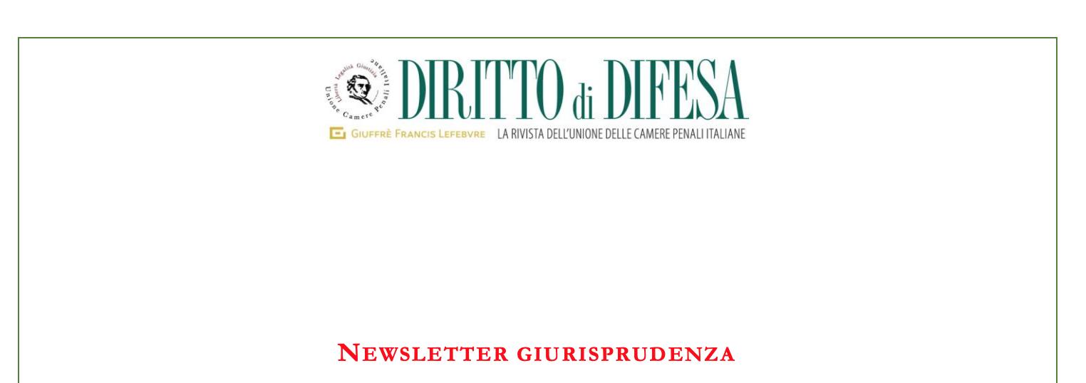 NEWSLETTER GIURISPRUDENZA N. 91 – 1 LUGLIO 2020