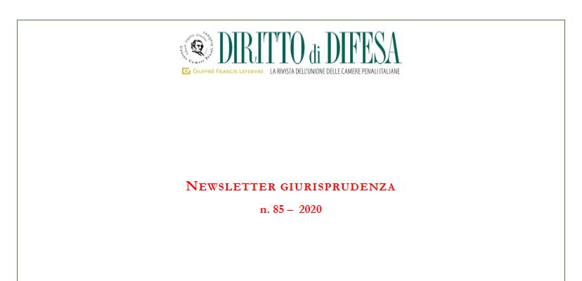 NEWSLETTER GIURISPRUDENZA N. 85 – 1 APRILE 2020