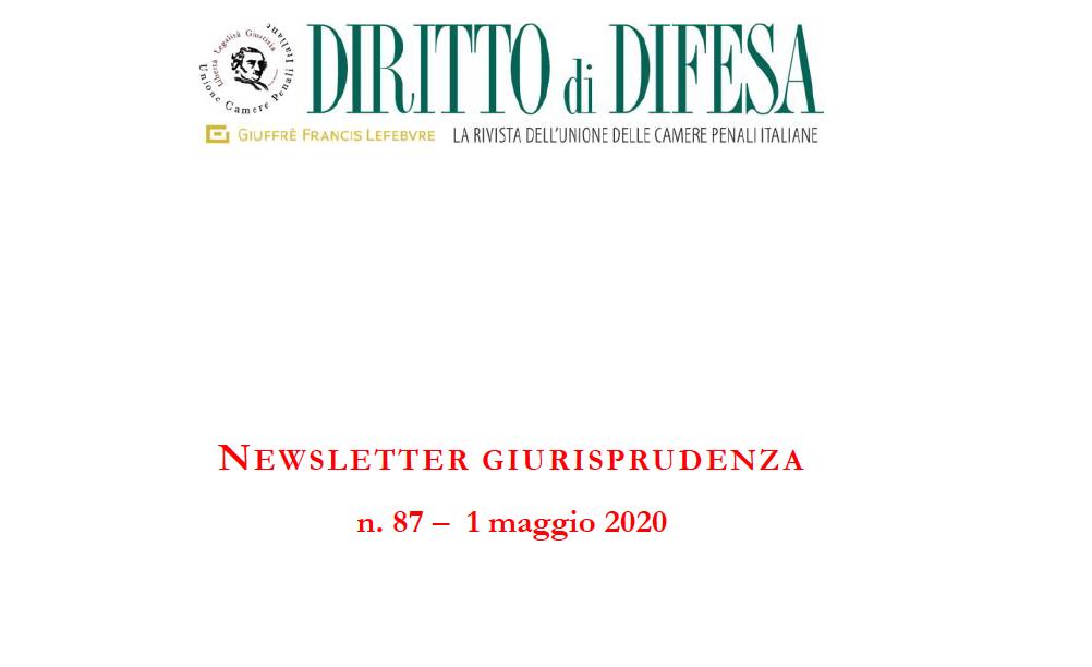 NEWSLETTER GIURISPRUDENZA N. 87 – 1 MAGGIO 2020