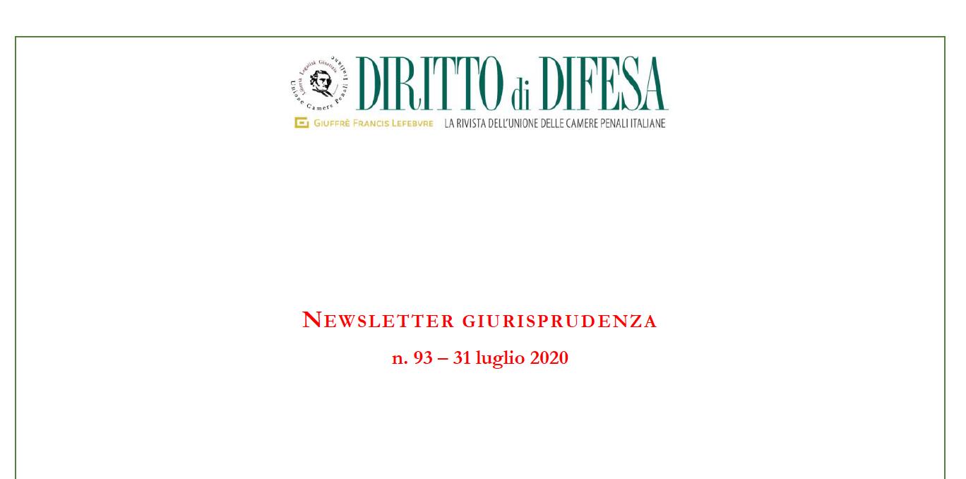 NEWSLETTER GIURISPRUDENZA N. 93 – 31 LUGLIO 2020