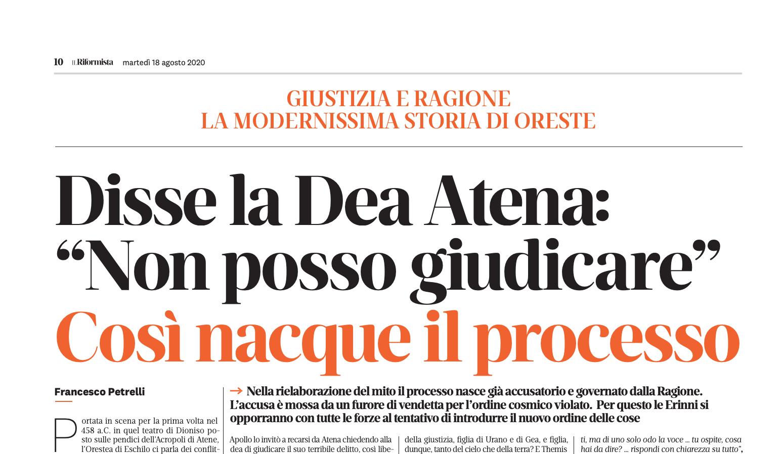 """DISSE LA DEA ATENA: """"NON POSSO GIUDICARE"""". COSÌ NACQUE IL PROCESSO – DI FRANCESCO PETRELLI"""