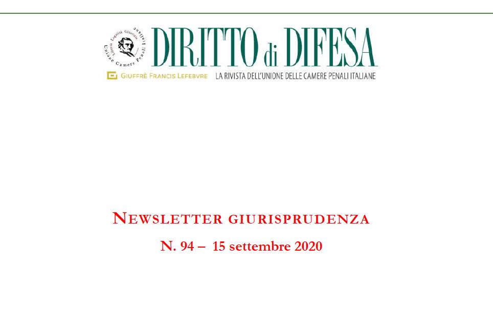 NEWSLETTER GIURISPRUDENZA N. 94 – 15 SETTEMBRE 2020