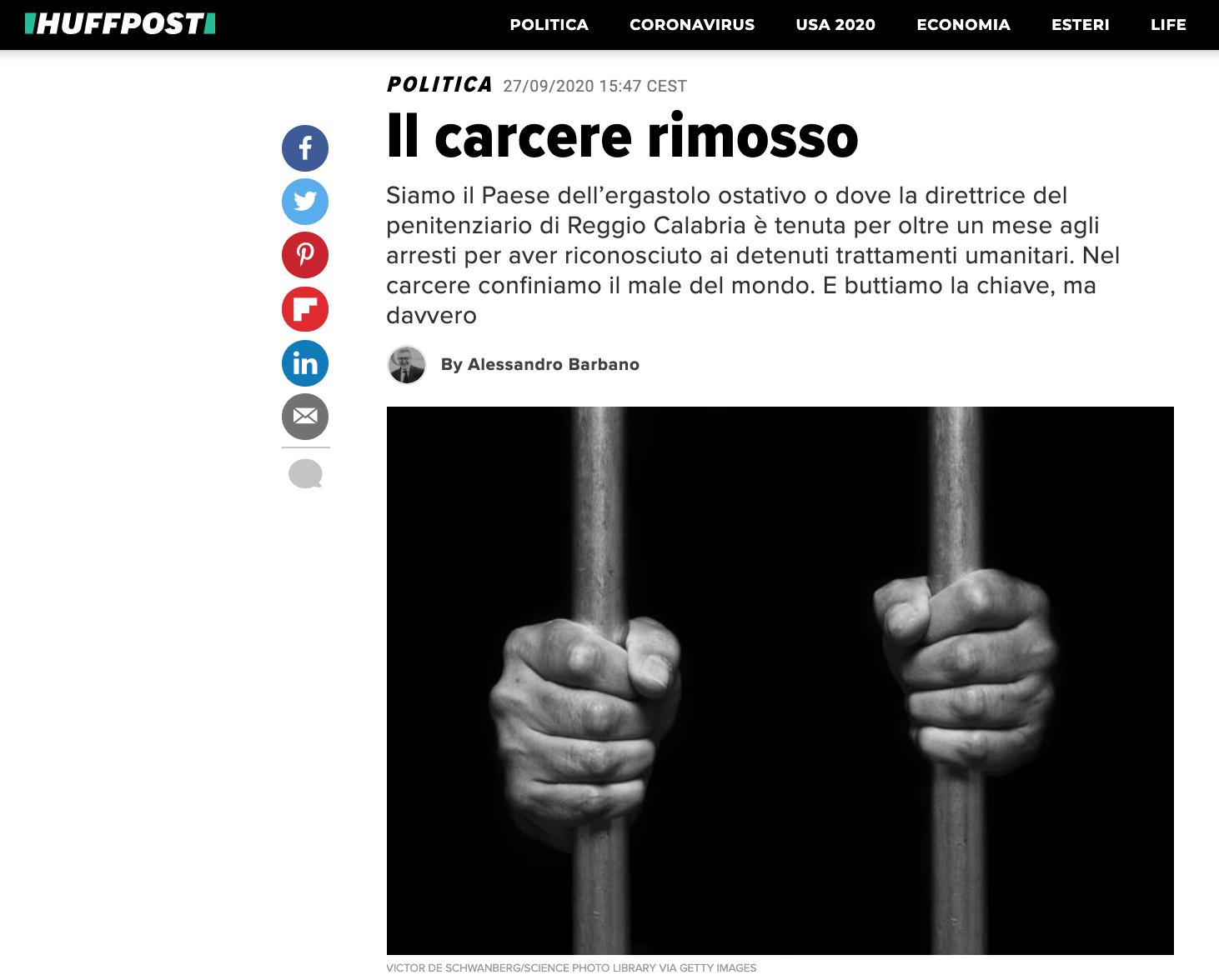 IL CARCERE RIMOSSO – DI ALESSANDRO BARBANO