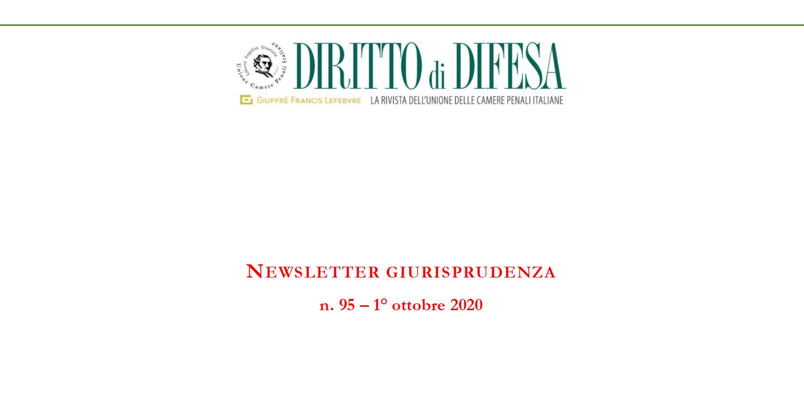 NEWSLETTER GIURISPRUDENZA N. 95 – 1° OTTOBRE 2020