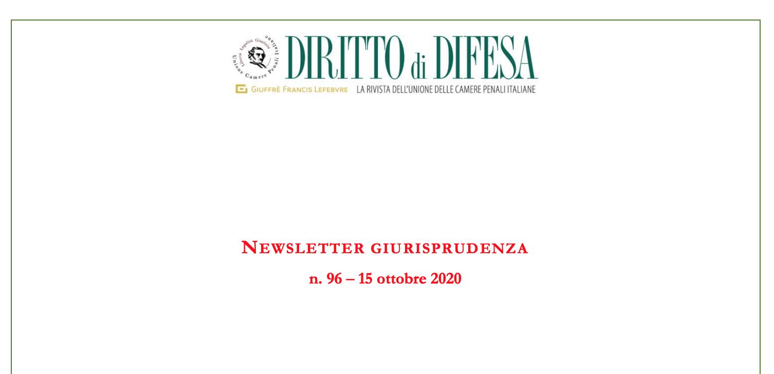 NEWSLETTER GIURISPRUDENZA N. 96 – 15 OTTOBRE 2020
