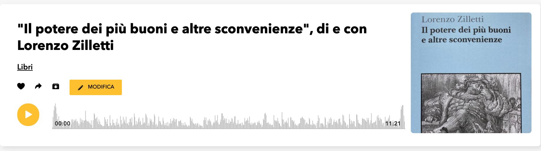 """""""IL POTERE DEI PIÙ BUONI E ALTRE SCONVENIENZE"""" – DI E CON LORENZO ZILLETTI – PODCAST"""