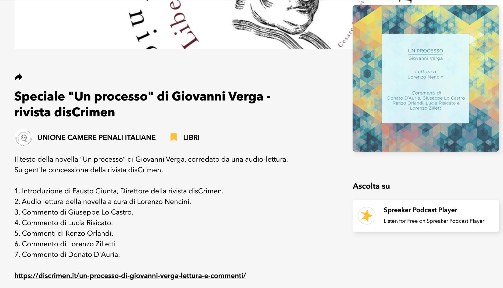 """SPECIALE """"UN PROCESSO"""" DI GIOVANNI VERGA – DALLA RIVISTA DISCRIMEN – PODCAST"""
